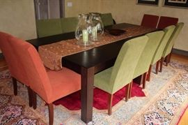 Dining Room Table with 10 Upholstered Chairs with Rug, Table Runner and Pair of Hurrican Lamps