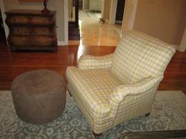 Plaid chair and ottoman