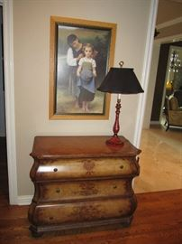 3 drawer painted chest, lamp and framed print