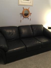 Copenhagen Blue Leather couch, beautiful condition