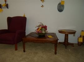 Wing Back Reclining Chair and Assorted Tables