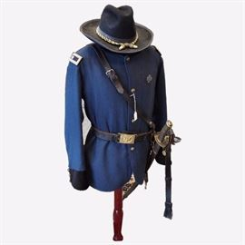 """From the director's collection.  Theatrical Coat worn by Sam Elliot as Brigadier General John Buford in the film """"Gettysburg""""  Hat by Dirty Billy's in Gettysburg PA"""