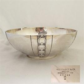 "Tiffany & Co. Sterling Art Deco Bowl, 9.25"" diameter, 28.41ozt"