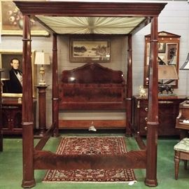 Queen-sized 4-poster Canopy Bed, Antique Victorian, Mahogany