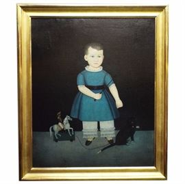 Folk Art Portrait of a child, unsigned, attributed to Calvin Bailis