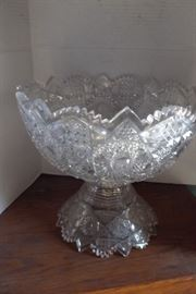 Cut glass, 2 part Punch bowl