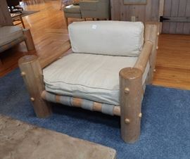 """Pappa"" London Marquess pine log chair and ottoman"