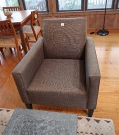 Crate Barrel gray upholstered pair of chairs