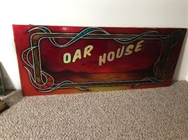 Oar House Sign. 1980's tavern sign in excellent condition. Local advertising from Water Street in Eau Claire Wisconsin!
