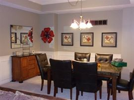 Dining room table and 6 chairs, server buffet home deco and mirror, pictures