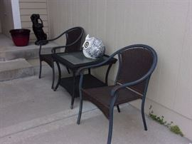 Patio chairs and end table