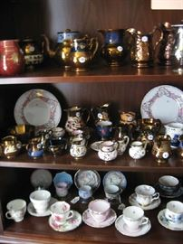 collection of copper lustre, 2 lithophane cups & saucers on left