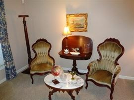 Great Looking pair of Victorian chairs with game table