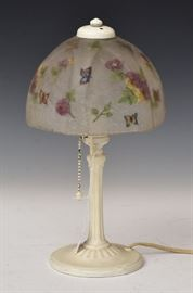 """Handel Boudoir Lamp  shade decorated with butterflies and flowers 7"""" diameter shade, 12 1/2"""" high overall base and shade signed"""
