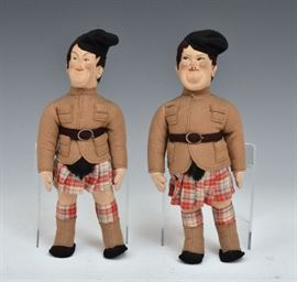 """Laurel and Hardy Felt Dolls made in Italy, 10 1/2"""" long early 20th century"""