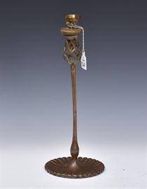 """Tiffany Studios Candlestick now adapted to a lamp 14 3/4"""" high (excluding fittings)  """"Tiffany Studios New York  27869"""""""