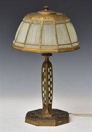 """Tiffany Studios Desk Lamp Abalone pattern with glass  linen fold shade 16 1/2"""" high, 9 1/2"""" diameter shade early 20th century"""