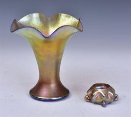 "Tiffany Favrile Art Glass Vase 7 1/2"" high, unsigned together with a Tiffany Favrile art glass salt, 3 1/4"" diameter signed ""L.C.T. Favrile"""