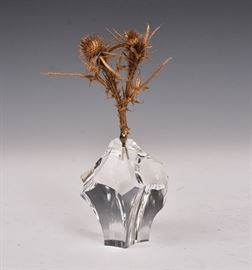 """Steuben Thistle on a Rock 8"""" high overall the crystal base with bronze """"thistle"""" signed"""