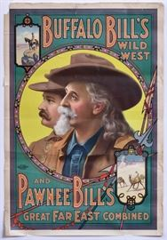 """Buffalo Bill's Wild West and Pawnee Bill's Great Far East Combined Poster 41"""" x 28"""" copyright 1909, US Lithograph Co.,  Russell-Morgan Print, Cincinnati & NY"""