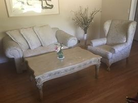 Love Seat, Arm Chair and Wood Tea Table