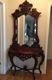 Solid Wood Carved Entry Hall Table w/ Mirror