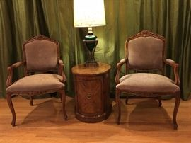 Made in Italy Pair of Suede Arm Chairs                                  Made in USA Mid Century Oval Side Cabinet                            Antique Brass/ Glass Table Lamp