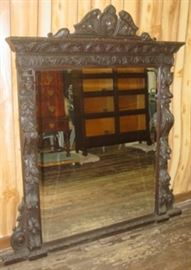 Large Oak Mirror - Very Ornate