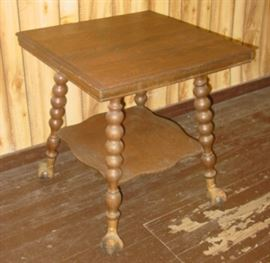 Oak Parlor Table w/Glass Ball Feet