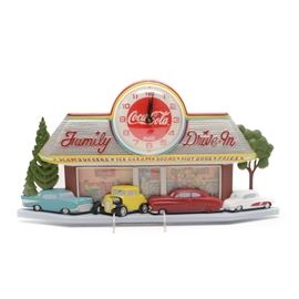 "Coca-Cola Wall Clock: A Coca-Cola wall clock. The clock is a one piece plastic mold made to look like a 1940s/50s diner. The clock is situated on the roof of a ""Family Drive-In"". Four cars are parked in front; people are inside eating. A Coca-Cola sign adorns the wall above two booths. A counter with people eating is to the right. The clock is quartz and it takes one AA battery (not included). The clock was made by Burwood; the directions are included. The clock does possess a second hand. The clock is flat on one side for hanging."