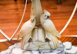 Antique Alabaster Table Lamp with Birds