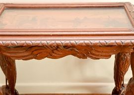 Antique Carved Tea Table with Tray & Inlaid Top