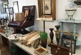Old house plans, pictures, furniture. Very nice desk chair!