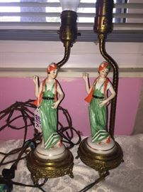 Vintage 20's flapper style girl lamps