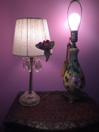 Victorian floral lamps