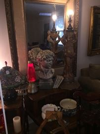 Cherub ceramic lamp, bust, Tiffany style lamp