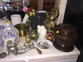 Decorative brass decor, wooden carved box, antique meat grinder, accessories