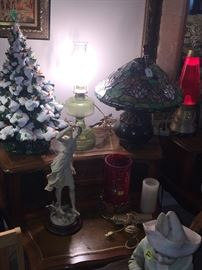 Oil lamp, vintage ceramic tree, piano babies, figurines