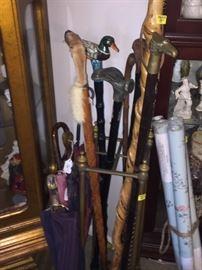 Canes, vintage umbrellas with Bakelite handles