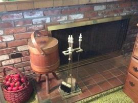 Retro sewing basket, fireplace tools