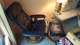 Ekornes stressless leather recliner and ottoman