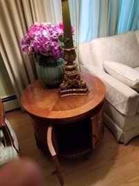 Formal round all-wood end table. Manufacturer unknown. (Two of two) Asking $95.00 for two.