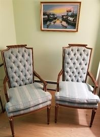 French-styled armchairs in carved wood frames. Manufacturer unknown. Asking $135 for the pair.