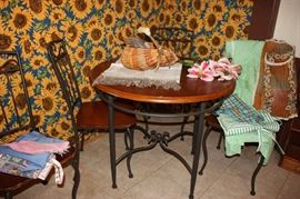 Wrought iron base kitchen table and 4 chairs