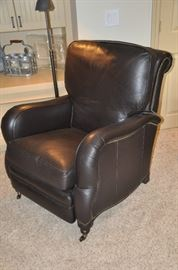 "Fantastic Brooklyn 32"" brown leather recliner with nail head design by Arhaus"