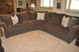 Three piece chocolate brown Landsbury sectional by Arhaus 9' x 9'