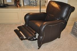 Super comfortable leather recliner with front wheels