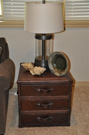 Fantastic Restoration Hardware trunk style end table with great decor and Restoration Hardware Merced table lamp