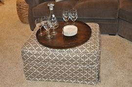 "Great upholstered light brown and white ottoman by Crate and Barrel. 38""w x 20""d x 35""h"