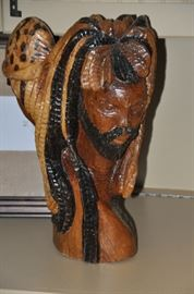 "Hand carved wooden African 2 faced man sculpture 18"" h"